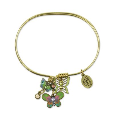 Butterfly Fly Away Charm Bracelet available at Anne Koplik Designs, your source for brass Swarovski Stud Earrings