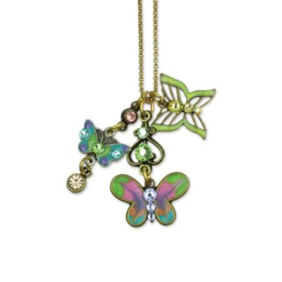 Butterfly Fly Away Jumble Necklace available at Anne Koplik Designs, your source for brass Swarovski Stud Earrings