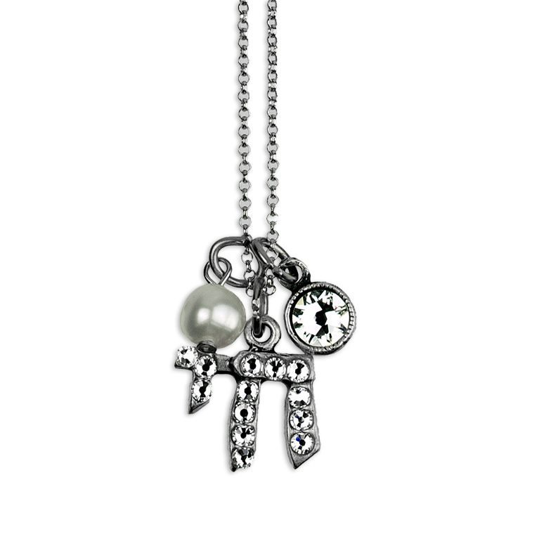 Chai Swarovski® Crystal With Pearl Faith Necklace by Anne Koplik Designs jewelry, handcrafted silver necklaces made in Brewster NY
