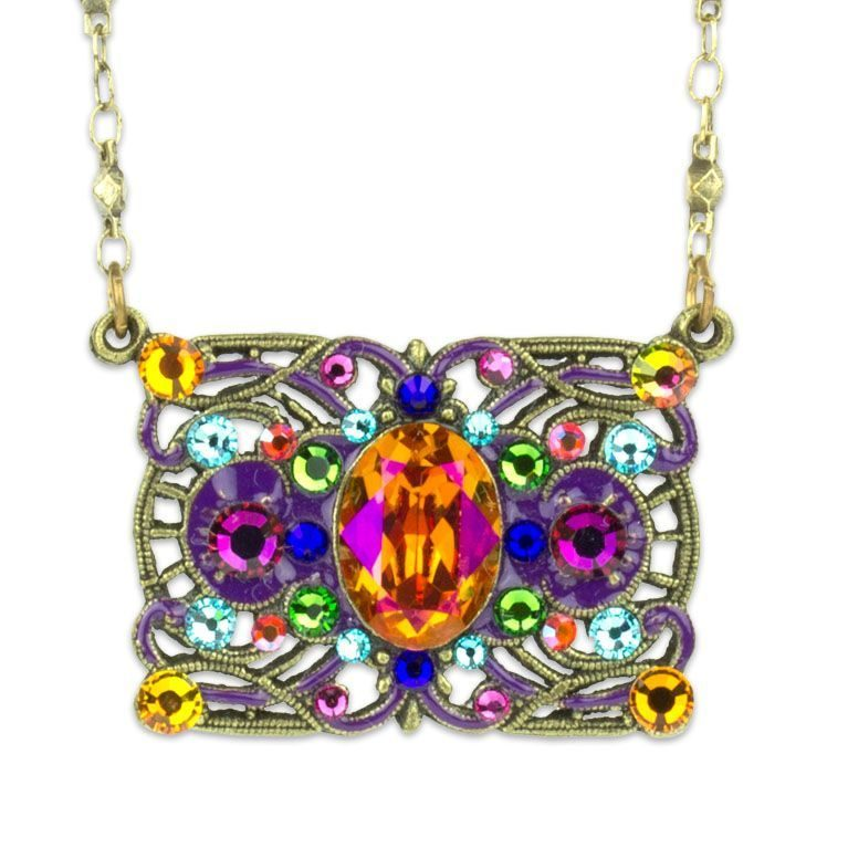 Coralie Orange Multi Rectangle Necklace by Anne Koplik Designs jewelry, handcrafted brass necklaces made in Brewster NY