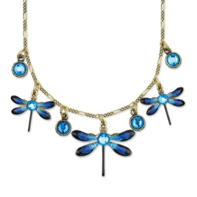 Dagny Bermuda Blue Multistrand Dragonfly Necklace by Anne Koplik Designs jewelry, handcrafted brass necklaces made in Brewster NY