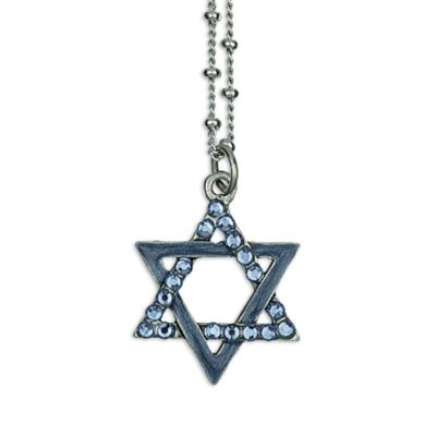 Enameled Star Of David Swarovski® Denim Faith Necklace by Anne Koplik Designs jewelry, handcrafted silver necklaces made in Brewster NY