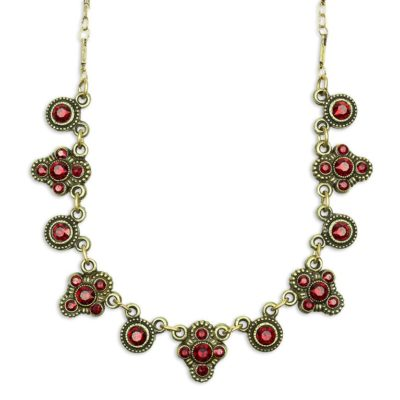 Eulalia Red Siam Go To Necklace by Anne Koplik Designs jewelry, handcrafted brass necklaces made in Brewster NY
