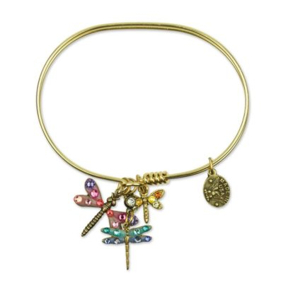Flittering Fluttering Dragonfly Charm Bracelet available at Anne Koplik Designs, your source for brass Swarovski Stud Earrings