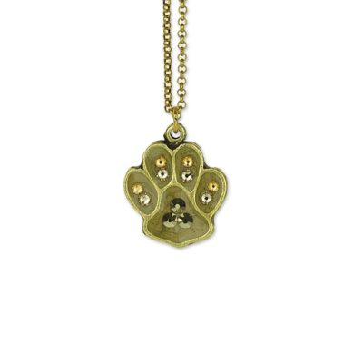 Fur Baby Charm Paw Print Necklace by Anne Koplik Designs, your source for brass Swarovski Stud Earrings