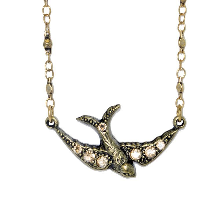 Golden Shadow Ottilie Flying Bird Necklace by Anne Koplik Designs jewelry, handcrafted brass necklaces made in Brewster NY