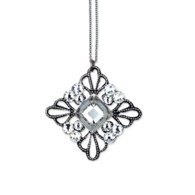 Graceful Leta Quadrilateral Crystal Necklace by Anne Koplik Designs jewelry, handcrafted silver necklaces made in Brewster NY