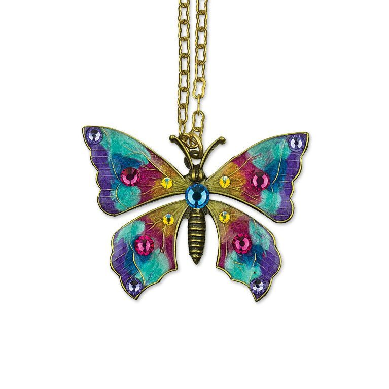 Harper Butterfly Necklace  available at Anne Koplik Designs, your source for brass Swarovski Stud Earrings