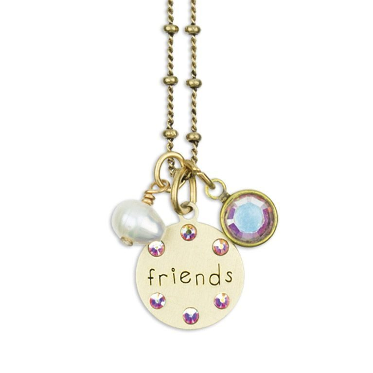 Inspirational Friend Jumble Necklace by Anne Koplik Designs jewelry, handcrafted brass necklaces made in Brewster NY
