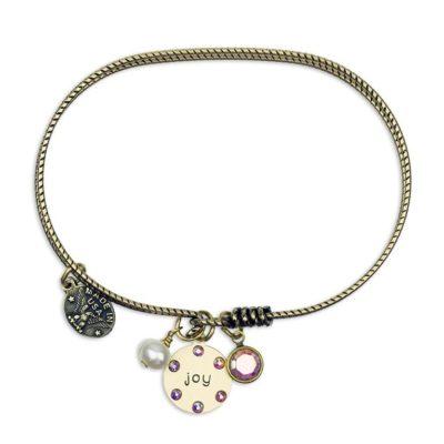 Inspirational Joy Jumble Bracelet by Anne Koplik Designs jewelry, handcrafted brass bracelets made in Brewster NY