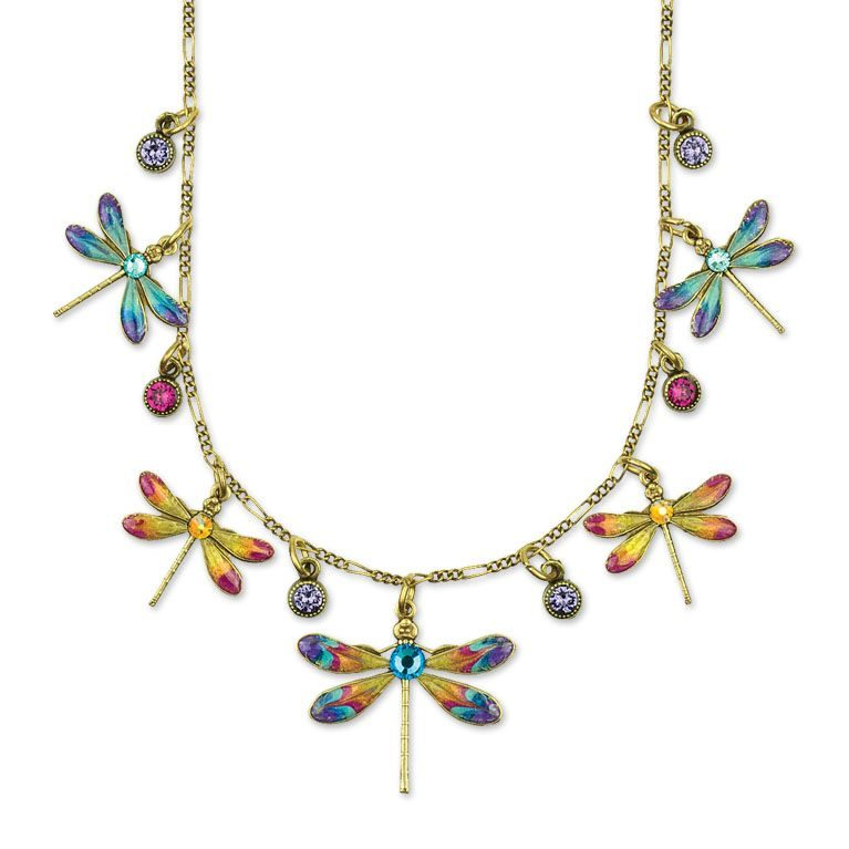 Lila Dragonfly Necklace available at Anne Koplik Designs, your source for brass Swarovski Stud Earrings