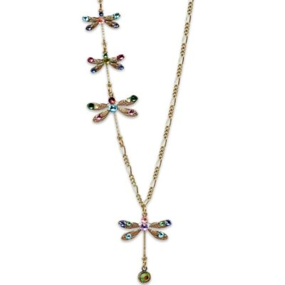 Maeby Four Dragonflies Hanging From There Tail Necklace by Anne Koplik Designs jewelry, handcrafted brass necklaces made in Brewster NY