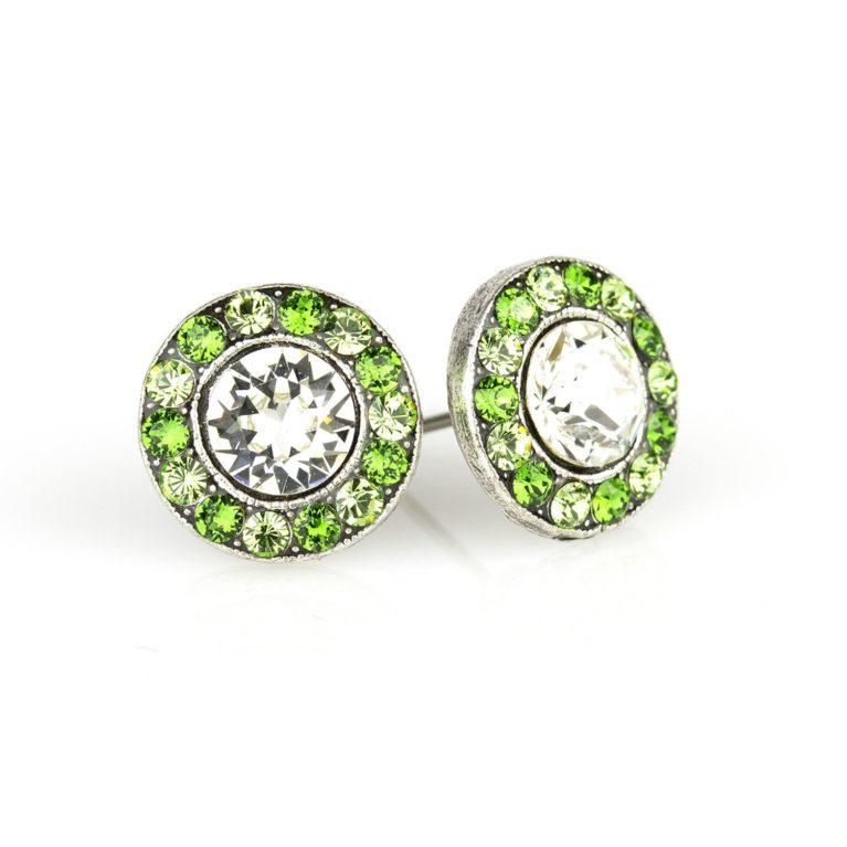 Mauraid Green Crystal Stud Earrings available at Anne Koplik Designs