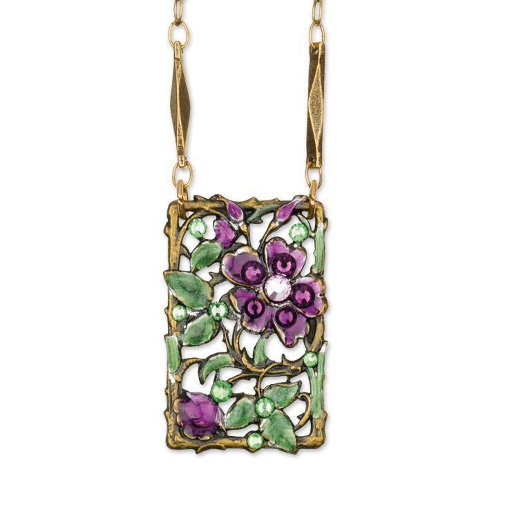 Minka Amethyst Necklace by Anne Koplik Designs jewelry, handcrafted brass necklaces made in Brewster NY