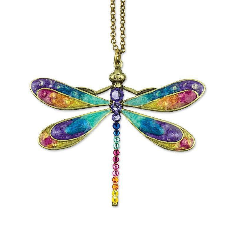 Olivia Dragonfly Necklace  available at Anne Koplik Designs, your source for brass Swarovski Stud Earrings