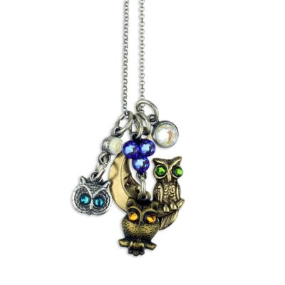 Owls Hoot Jumble Charm Necklace by Anne Koplik Designs jewelry, handcrafted silver necklaces made in Brewster NY