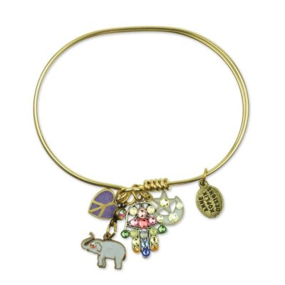 She's a Dreamer Elephant Charm Bracelet available at Anne Koplik Designs, your source for brass Swarovski Stud Earrings
