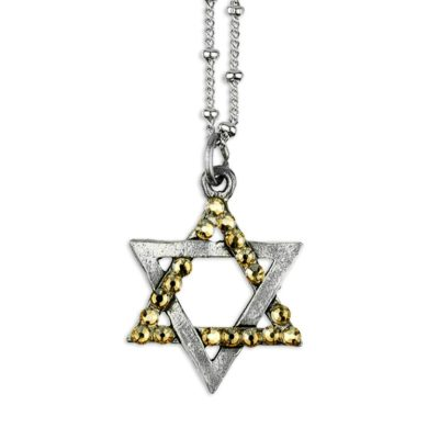 Star Of David Swarovski® Golden Shadow Silver Faith Necklace by Anne Koplik Designs jewelry, handcrafted silver necklaces made in Brewster NY