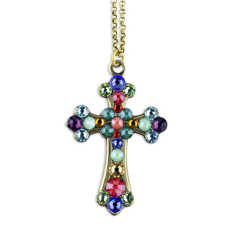 Versicolored Brass Faith Cross Necklace by Anne Koplik Designs jewelry, handcrafted brass necklaces made in Brewster NY